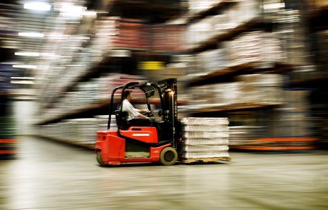 wooden pallets in the warehouse