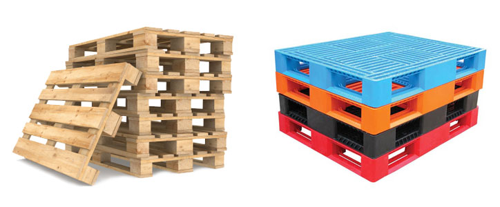 wood and plastic pallets